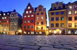 Stortorget in stan Gamla, Stockholm Stock Foto's