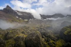 Storurd - mountain area with a beautiful lake in Iceland royalty free stock photography