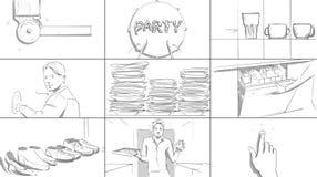 Story-board à la maison de partie Illustration de Vecteur