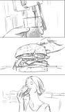 Story-board de prêt-à-manger avec l'hamburger et la soude Illustration Libre de Droits