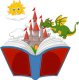 Story book with cartoon castle, dragon and sun