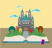 Story Book. The imagination of the kingdom with a magnificent palace on top of books in vector Royalty Free Stock Photos