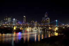 Story Bridge and Brisbane City with Boat lights Royalty Free Stock Photo