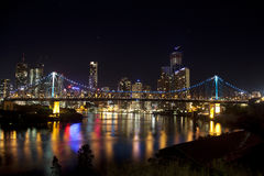 Story Bridge and Brisbane City with still water