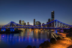 Story Bridge in Brisbane. Looking across the Brisbane River to the Story Bridge stock photo