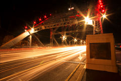 The Story Bridge. A Story Bridge, Brisbane at night time in peak hour traffic Royalty Free Stock Photos