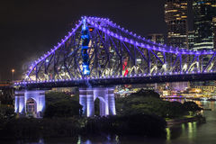 Story Bridge on New Years Eve 2016 in Brisbane Stock Image