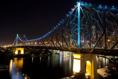Story Bridge at night, Brisbane. View of the Story Bridge at night North side. Bridge is in Brisbane, Queensland, Australia stock images