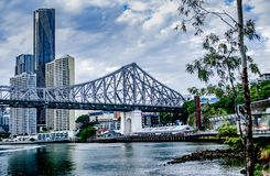 Story bridge side view. And clouds royalty free stock images