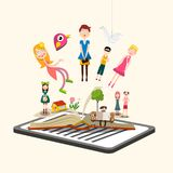 Story Characters on Book. E-book Reader. Vector Illustration stock illustration