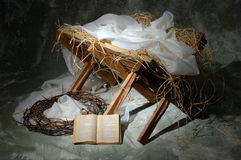 The Story of Christmas. With open Bible to John 3:16 Stock Photos