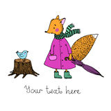 The story about the cute fox and the bird in the rain. Hand drawn vector Stock Photo