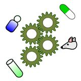 The story of drug discovery. Ths story of drug discovery. Initial at labotory until get new drug Stock Image