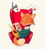 Story of a fox thinking of his girlfriend. vector illustration