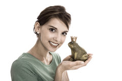 Story of frog king: Young isolated woman. Concept for singles, w Royalty Free Stock Photography