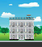 3 story house. Large 3 story house depicting doors, balconies, columns, plants, trees and a park Stock Image