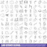 100 story icons set, outline style Stock Photo