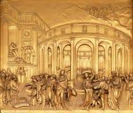 The Story of Joseph, Gates of Paradise, Baptistry of Florence Cathedral. Baptistry of Saint John, Gates of Paradise, The Story of Joseph, Florence, Italy Stock Image