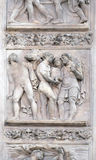 The Story of Joseph and His Brethren. By Amico Aspertini, right door of San Petronio Basilica in Bologna, Italy stock photography