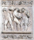 Story of Joseph and His Brethren. The Story of Joseph and His Brethren by Amico Aspertini, right door of San Petronio Basilica in Bologna, Italy royalty free stock photos