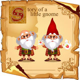 Story of a little gnome, two cute grandfathers Stock Photos