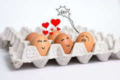 Story of love,s eggs. Story of loves eggs on eggs panel Royalty Free Stock Image