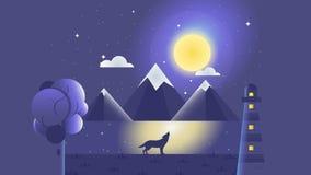 One Riverside`s Story | Night vector illustration