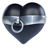 Story of O ring, made of metal, steel tied around a black latex heart. 3d rendering on white background Royalty Free Stock Image