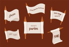 The story of Purim. Jewish acient scroll set. banner template illustration. The story of Purim. Jewish acient scroll. banner template vectorillustration Stock Photos