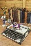 Story sport. Sports journalist writes a story of winners. The story of sports victories. Paper on sport, victory and defeat. ravel typewriter on the desk of Royalty Free Stock Photo