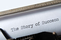 Story of Success. The typed title Story of Success on an old typewriter Royalty Free Stock Photos