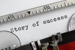 Story of success. Written on an old typewriter Royalty Free Stock Photos