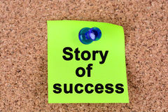Story of success words on notes Stock Image
