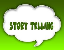 STORY TELLING message on speech cloud graphic. Green background. Illustration Royalty Free Stock Image