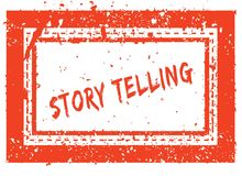 STORY TELLING on orange square frame rubber stamp with grunge texture. Illustration Stock Photos