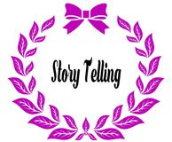 STORY TELLING with pink laurels ribbon and bow. Illustration concept Stock Photo