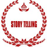 STORY TELLING red laurels badge. Illustration image concept Stock Photography