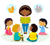 Story time – multicultural group Royalty Free Stock Image