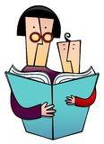 Story Time. A funky clip art of Mother and child reading together Royalty Free Stock Photo