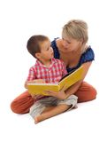 Story time - family over white Royalty Free Stock Photography