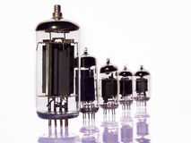 Story of the vacuum tubes on white background Royalty Free Stock Photos