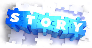 Story - White Word on Blue Puzzles Stock Photo