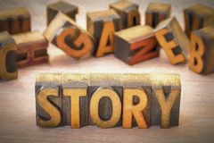 Story word abstract in wood type. Story word  abstract  in vintage letterpress wood type blocks with a digital painting filter applied Stock Photos