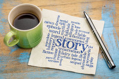 Story word cloud on napkin Royalty Free Stock Photography