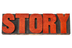 Story word in letterpress wood type Royalty Free Stock Image