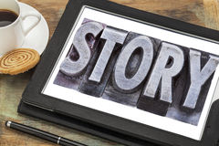 Story word in metal type Royalty Free Stock Photo