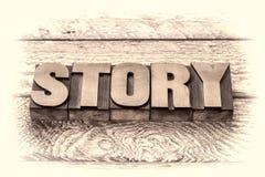 Story word in vintage letterpress wood type Stock Image