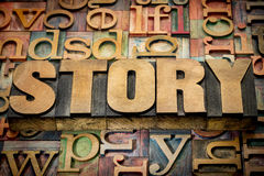 Story word in wood type Stock Photography