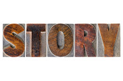 Story word in wood type Stock Images