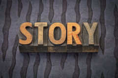 Story word in wood type Royalty Free Stock Photo